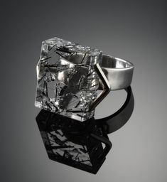 Art Jewelry, Margaret De Patta, Artist, ring, 1947, sterling silver, tourmaline, quartz, 2.5x0.6x0.6 cm,, Collection of the Oakland Museum of California, gift of Eugene Bielawski, The Margaret De Patta Memorial Collection