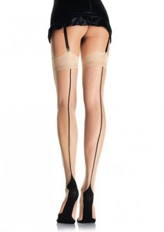 These are spandex stockings with a contrasting cuban heel and back seam....Price - $8.00-d8p5NrB8