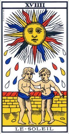 Le soleil, l'arcane 19 du tarot de Marseille qui exprime la lumière, l'épanouissement. Il s'agit d'une arcane majeur très positive dans le tarot de Marseille. Le soleil protège le consultant par sa chaleur et symbolise la fertilité.