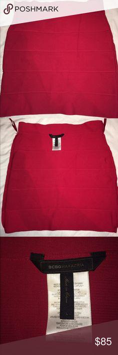 "BCBG Red Pencil Bandage Skirt Worn once, Simone Textured Power Skirt in ""new red"" by BCBG MAXAZRIA. BCBGMaxAzria Skirts Mini"