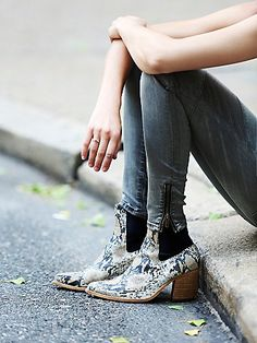 New Frontier Boot | Western inspired stacked heel ankle boots with snakeskin textured leather uppers and stretchy elastic backs.  *By Jeffrey Campbell + Free People