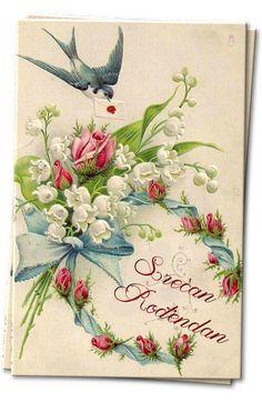 Vintage Victorian lily-of-the-valley and rose bouquet postcard Éphémères Vintage, Images Vintage, Vintage Makeup, Vintage Labels, Vintage Ephemera, Vintage Pictures, Vintage Paper, Vintage Prints, Vintage Valentine Cards