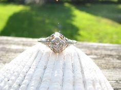Lovely+Vintage+18K+Filigree+Diamond+Engagement+Ring++by+Franziska,+$458.00