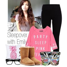 A fashion look from January 2015 featuring Victoria's Secret PINK pajamas, Pieces leggings and UGG Australia boots. Browse and shop related looks.