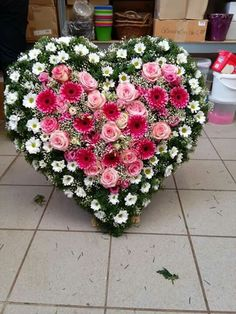 Looking for unique funeral arrangements? - A large flower arrangement in the shape of a heart made from various types and colors of flowers. Funeral Floral Arrangements, Large Flower Arrangements, Large Flowers, Grave Decorations, Flower Decorations, Funeral Sprays, Memorial Flowers, Sympathy Flowers, Funeral Flowers