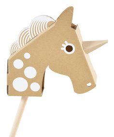 Cardboard Little Unicorn Head - make your own hobby horse. (Or hobby unicorn. Unicorn Head, Little Unicorn, Unicorn Games, Toy Unicorn, Cardboard Toys, Hobby Horse, Paper Crafts, Diy Crafts, Horse Head