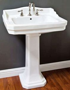 Affordable Antique Bath - Deco Pedestal Sink, $299.00 (http://www.bathandmore.com/deco-pedestal-sink/)