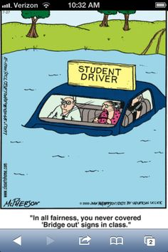 Close to Home. Driver's Ed Driving Teen, Driving School, Close To Home Comic, Driving Humor, Drivers Ed, Driving Instructor, Learning To Drive, Fun Comics, Funny Cartoons