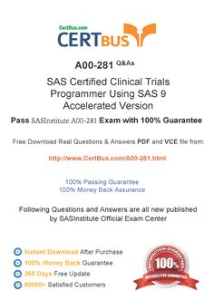 Candidate need to purchase the latest SASInstitute A00-281 Dumps with latest SASInstitute A00-281 Exam Questions. Here is a suggestion for you: Here you can find the latest SASInstitute A00-281 New Questions in their SASInstitute A00-281 PDF, SASInstitute A00-281 VCE and SASInstitute A00-281 braindumps. Their SASInstitute A00-281 exam dumps are with the latest SASInstitute A00-281 exam question. With SASInstitute A00-281 pdf dumps, you will be successful.