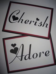 DIY wedding Table name cards. Inseparable Hope Happiness Devotion Joy Embrace Desire
