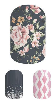New Dusty Floral from Jamberry Fall Catalog - featuring Midnight Celebration and Rose Coloured Glasses.