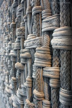 Material- matter of which things can be made. The material in the photo gives of texture and leading lines. Design Textile, Textile Art, Rope Art, Textile Texture, Fabric Manipulation, Fibres, Textures Patterns, Wall Textures, Textured Walls