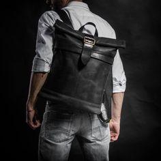 Leather backpack Roll top backpack by Kruk Garage Original Collection Made of black cowhide leather with buckle era Men's backpack Smart Casual Outfit, Casual Outfits, Men Casual, Leather Roll, Black Leather, Leather Bag, Cowhide Leather, Roll Top Backpack, Laptop Backpack