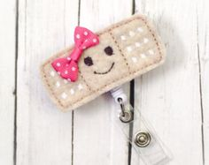 Cute Band-Aid w/ Happy Face Felt Name Badge - Name Badge Holder - Cute Badge Reel - Unique Retractable ID Badge Holder - Felt Badge Reel