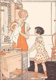 Vintage Illustration Lovely shades of orange add interest to this darling home life scene. Vintage Pictures, Vintage Images, Vintage Housewife, Wow Art, Children's Book Illustration, Magazine Illustration, Eeyore, Vintage Ads, Vintage Paper