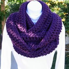 INFINITY SCARF Loop Cowl Solid Dark Purple, Extra Soft, Warm, Long Bulky…
