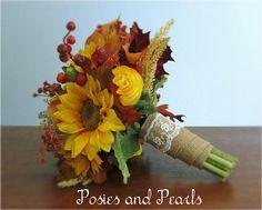 Fall Silk Flower Bridal Bouquet Sunflowers Ranunculus Calla