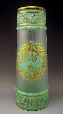 Rare Antique French BACCARAT Acid Etched Cameo Enameled Art Glass Vase  ca.1900