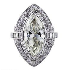 Marquise Cut Diamond Platinum Engagement Ring