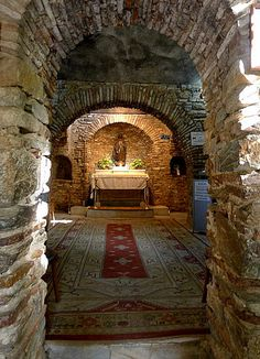 Visiting the structure that is believed to be the Virgin Mary's house after the crucifixion. Ephesus, Turkey.