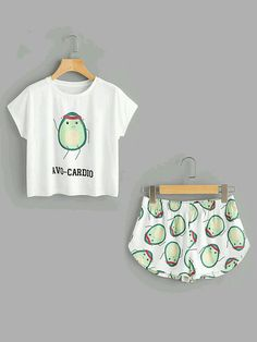 Cartoon Avocado Print Tee And Shorts Co-ord - French Shirt - Ideas of French Shirt - Shop Cartoon Avocado Print Tee And Shorts Set online. SheIn offers Cartoon Avocado Print Tee And Shorts Set & more to fit your fashionable needs. Cute Lazy Outfits, Teenage Outfits, Teen Fashion Outfits, Trendy Outfits, Girl Outfits, Summer Outfits, Fashion Dresses, Cute Pjs, Cute Pajamas
