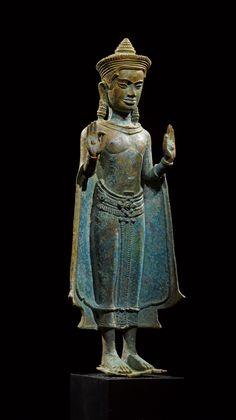 Standing Buddha with both hands in vitarka mudra (teaching gesture). Lopburi or Northeast Thailand, mid century. Buddha Buddhism, Buddhist Art, Buddhist Temple, Temples, Laos, Art Thai, Standing Buddha, Vietnam, Angkor
