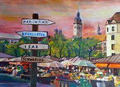 Munich Bavaria Viktualienmarkt with Signposts - a bustling Market Scene | Artshop 77