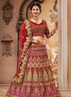 Designer Indain bridal lehenga choli in Red & Biege E15315