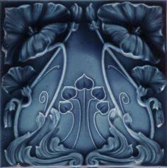 """walzerjahrhundert: """"Art Nouveau Majolica Ceramic Tiles, ca 1890 - 1910 """" Motifs Art Nouveau, Azulejos Art Nouveau, Design Art Nouveau, Art Nouveau Tiles, Vintage Tile, Style Tile, Decorative Tile, Arts And Crafts Movement, Antique Art"""