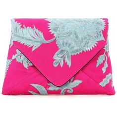 Embroidered clutch ($785) ❤ liked on Polyvore featuring bags, handbags, clutches, dries van noten handbags, pink clutches, embroidered purse, embroidery handbags and pink handbags