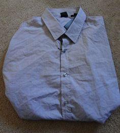 Boss Hugo Boss Men's Gray 2XL Long Sleeve Shirt NWT 100% Cotton Made In China #BossHugoBoss #ButtonFront