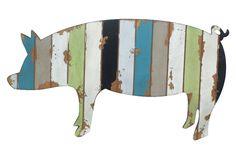 "24"" Wood Pig Plaque, Multi   One Kings Lane"