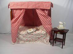 "Retired AMERICAN GIRL FELICITY CANOPY BED, NIGHTSTAND &  WASHBASIN & NIP 6"" Mini Doll glass eyed Felicity doll, via eBay SOLD 12/28/14 $162.50"