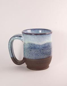 Everyday Pottery Mugs  Blue by ClayPathStudio