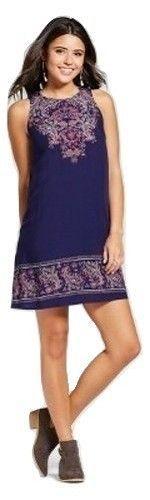 Women's Junior's Placed Print Shift Dress, Blue, X-Small #Xhilaration #ShiftDress #Casual