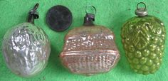 Lot of 3 Vintage 1920's-30's Miniature Feather Tree Christmas Ornaments Bird Cag