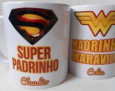 Caneca Super Padrinho Madrinha Maravilha