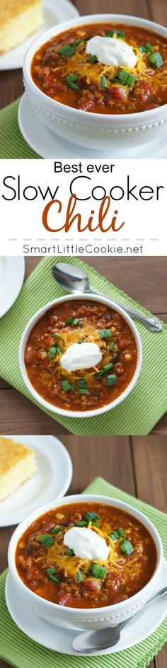 The best Chili ever! Warm, meaty and full of flavor, this slow cooker Chili is not only extremely delicious but super easy to make. | http://SmartLittleCookie.net