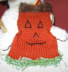 Handmade Puppy Dog / Kitty Cat Clothing - Knit Pet Pullover Sweater Vest - Choose one: Pumpkin Patch, Mrs C OR Pinkie Rings by greatlakestate2 on Etsy