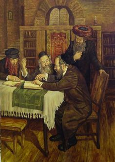 Torah Debate. In order to be historically faithful in his Judaica paintings, Dubrov studies history of Judaism, Jewish traditions, culture and everyday life of Jewish shtetls. Historically precise, detailed rendering of objects and people makes Dubrov's paintings an encyclopedia of the Jewish past.