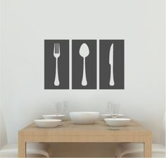 Kitchen Wall Decal - Dining Room Wall Decal - Fork, Spoon, Knife - Wall Stickers - Custom Decal Wall Graphics. $37.00, via Etsy.