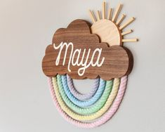 Pastel Rainbow Name Sign Personalized carved wall hanging FREE priority shipping! Baby Crafts, Diy And Crafts, Paper Crafts, Rainbow Baby Names, Names Baby, Baby Mobile, Baby Name Signs, Wooden Name Signs, Creation Deco