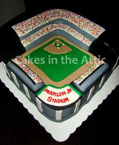 Cakes in the Attic: Baseball Stadium Cake and Cupcake Tower