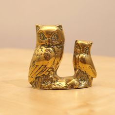 Vintage Solid  Brass baby owl and its mum   heavy by UKAmobile