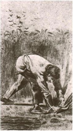 Vincent van Gogh Drawing in pencil, washed with sepia. Etten: April - May, 1881. Location of piece still unknown and missing (stolen or looted by the Nazi's)