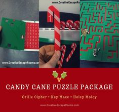 Candy Cane Christmas Escape Room Prop Package - Creative Escape Rooms Escape Room Themes, Escape Room Puzzles, Pop Up Window, Puzzle Box, Save Your Money, Christmas Themes, Candy Cane, Drink Sleeves, Packaging