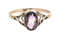 Art Deco Vintage Ladies Oval Amethyst Solitaire Dress Ring in 9 ct Rose Gold FREE POSTAGE Included by GloryBeVintageWares on Etsy