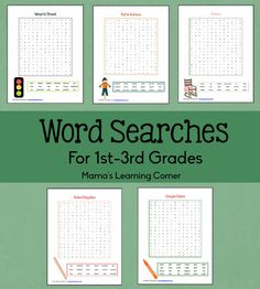Themed Word Searches for 1st-3rd Graders - transportation, school supplies, fall/autumn, baby supplies, and more!