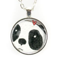 """Featuring an art print of my own original illustration of a cute panda and heart! - Pendant size: 1"""" inch (25 mm) - Chain length: 24"""" inches - Art print sealed under smooth glass cover - Zinc alloy fr"""
