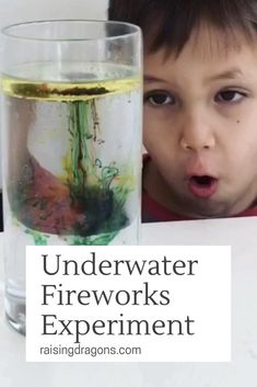 This simple science experiment is easy to set up and creates the effect of underwater fireworks using just oil, water and food coloring. Educational Activities For Toddlers, Science Activities, Science Projects, Children Activities, Infant Activities, Art Projects, Easy Science Experiments, Science Fair, Water Experiments For Kids